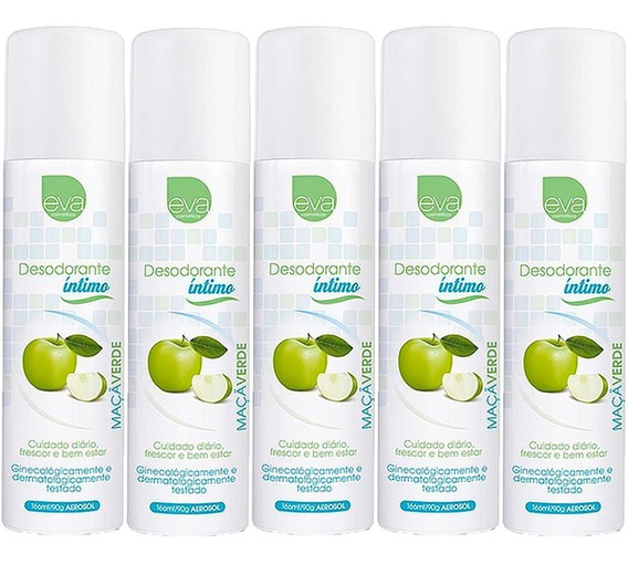 5 Unidades De Desodorante Íntimo Feminino Maçã Verde 166 Ml