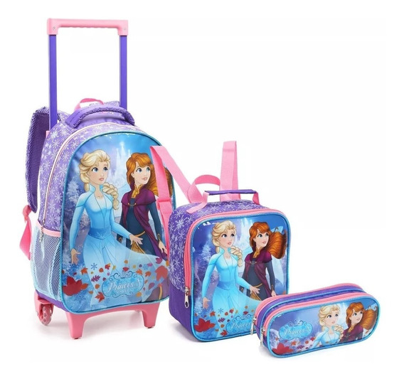 Kit Mochila Rodinha G Infantil C/ Alça Princess On Ice 14645