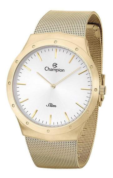 Relógio Champion Masculino Ref: Ca21811h Slim Mesh Dourado