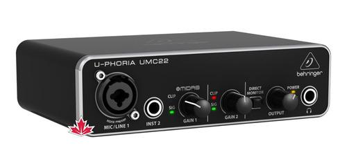 Placa Interface De Audio Behringer Umc22 + Nfe