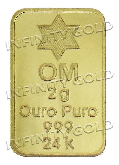 Barra De Ouro 24k 999 2 Gramas, Frete Grátis Com Certificado