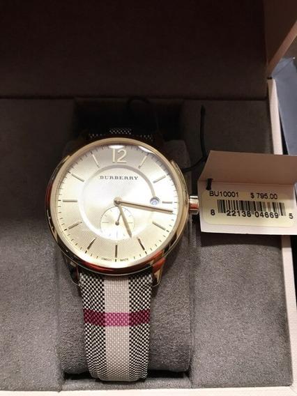 Reloj, Burberry, Gold Tone Bu10001 Stainless Steel Textile