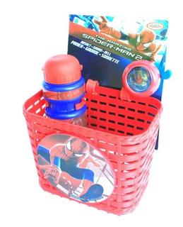 Canasto Timbre Y Caramañola Spiderman Para Bicicleta Niño