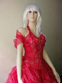 Vestido De 15 Xv Rojo Olanes Estrella De Organza Talla Ch