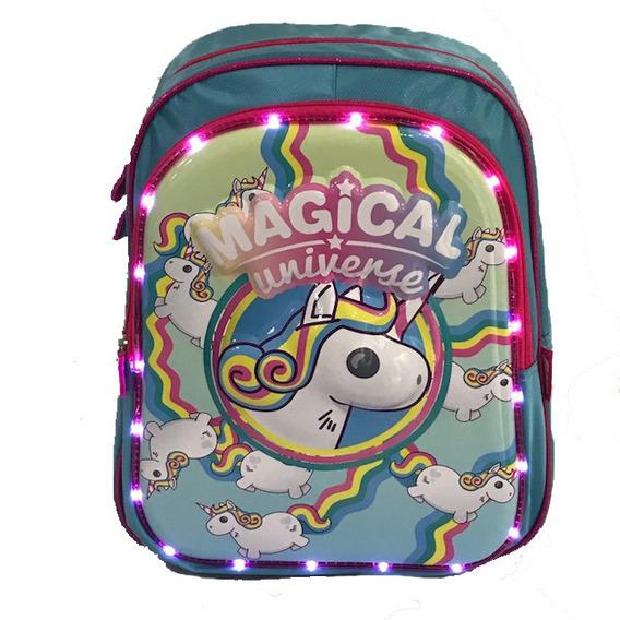 Mochila Unicornio Con Luz De Led 14 Para Jardín O 1* Grado