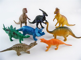 Kit 8 Peças Dinossauros De Borracha Miniatura Media Barato