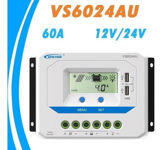 Controlador De Carga Solar Pwm 60a 12v/24v Epever Vs6024au
