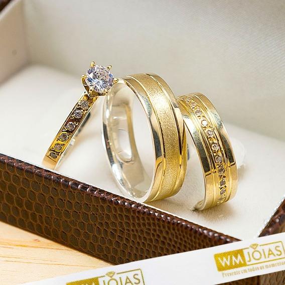 Aliança De Casamento Ouro E Prata + Anel Solitário Wm10211