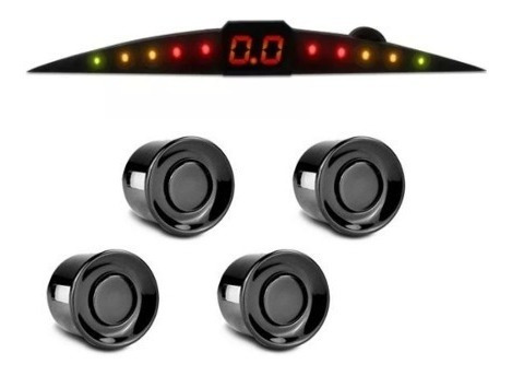 Sensor Estacionamento Ré Preto 4 Pontos Universal Led Sonoro
