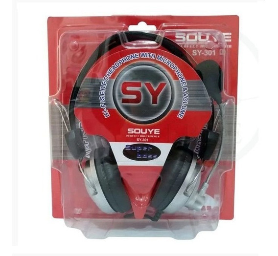 Headphone With Microphone + Volume Super Bass Souye Sy-301