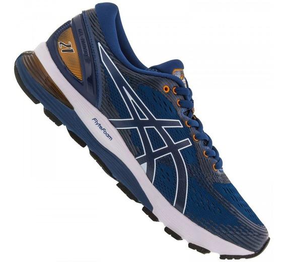 Tenis Asics Gel Nimbus 21 Masculino Corrida Running Azul - Original 12x Sem Juros
