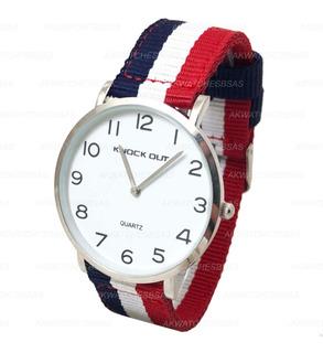 Reloj Knock Out Hombre Caballero Malla Tela Minimalista 2570