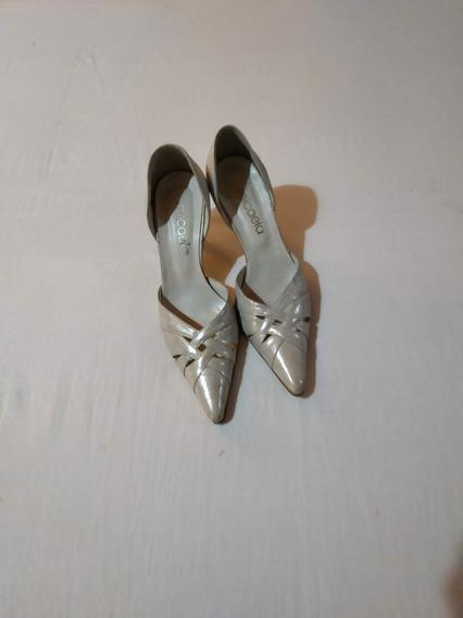 Sandalias Mujer Zapatos Taco Bajo Fiesta Plateadas Cómodas