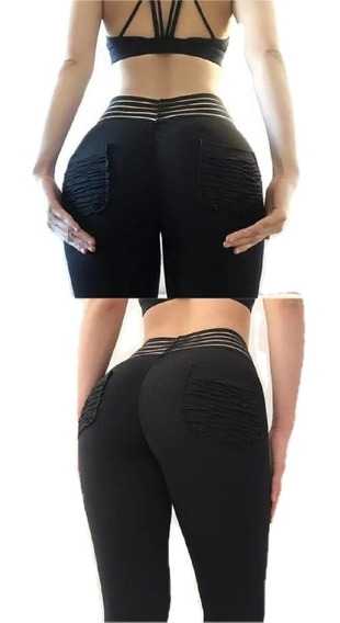 Leggins Malla Gym Efecto Push Up Bolsa Corrugada