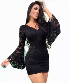 2451c75d6 Vestido Renda Curto Tubinho Manga Longa Flare Novidade Festa. R$ 120