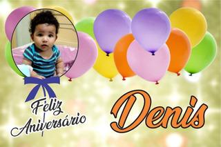 Painel Festa Aniversário Bexigas Balões Com Foto E Nome