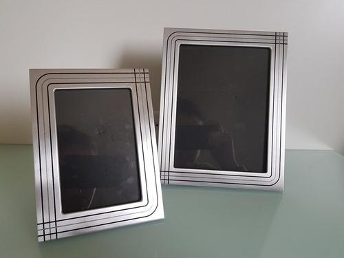 Conjunto 2 Porta-retratos Moldora Alumínio