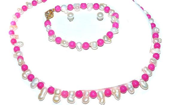 Collar Pulsera Aretes Perla Cultivada Doble Blanco Y Jade115