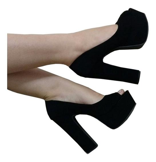 Sapato Peep Toe Meia Pata Salto Fino Ou Grosso 13 Cm V Cores