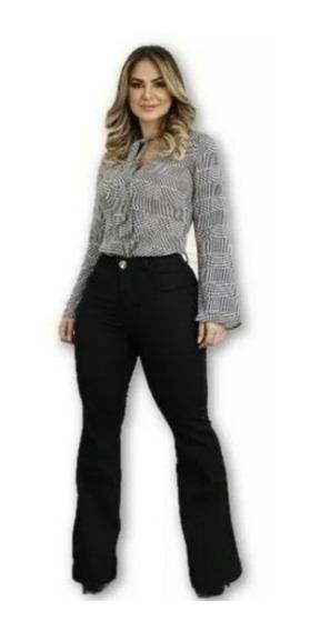 Calça Jeans Feminina Flare Luxo Barata Cintura Alta