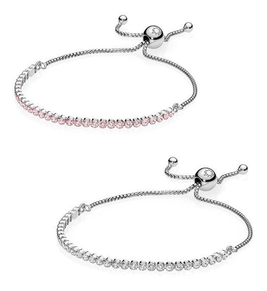 Pulseira Ajustável Prata 925 Cristal Transparente Ou Rosa