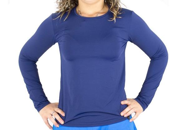 Blusa Segunda Pele Feminina Proteção Solar Azul Marinho