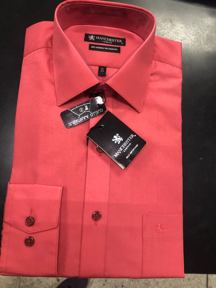 Camisa Salmon Cuello Ajustable De Vestir Manchester