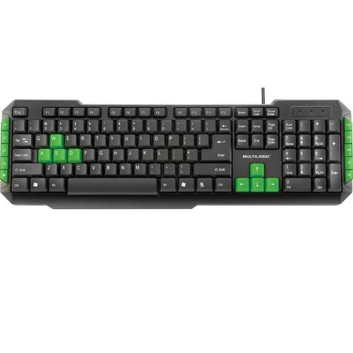 Teclado Gamer Multilaser Tc201 Teclas Verdes Usb Preto