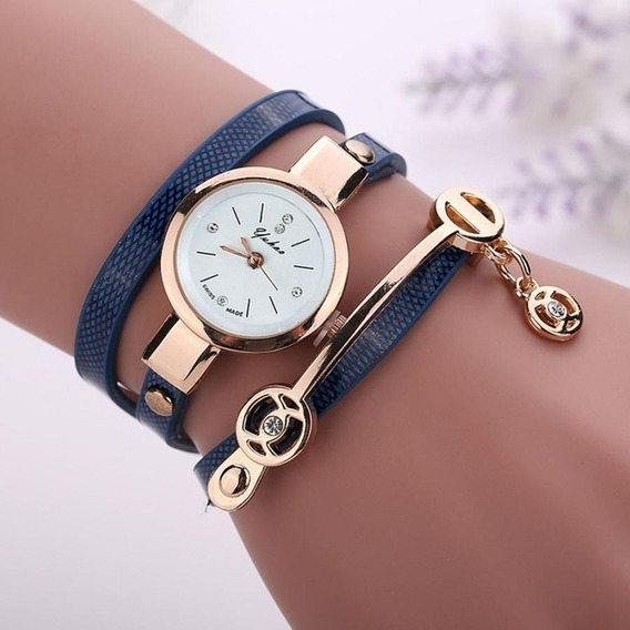 Relógio Feminino Pulseira Couro Com Dourado Retrô Vintage