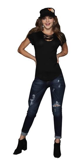 Playera Mujer Negra Lisa Dama Escote En Pecho Cuello Redondo