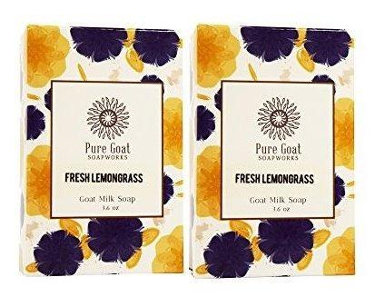 Pure Goat Soapworks Fresh Lemongrass Goat Milk (paquete De 2