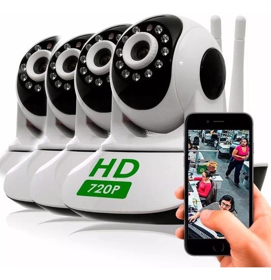 Kit Com 4 Câmera Segurança Ip Hd 720 Sem Fio Wifi P2p Áudio