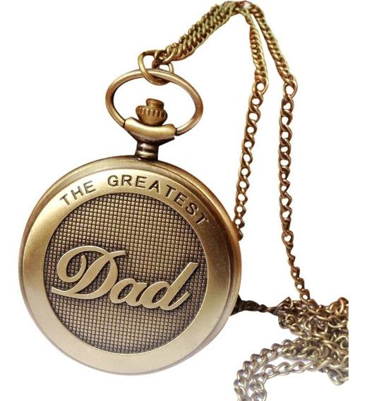 Relógio De Bolso Dad Papai Vovô Quartzo Em Liga De Bronze