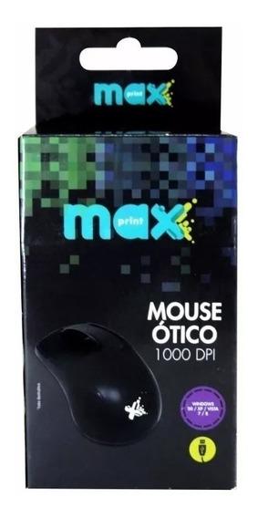 Mouse Óptico 10 Unidades Maxprint 1000dpi Usb Preto 60615-7