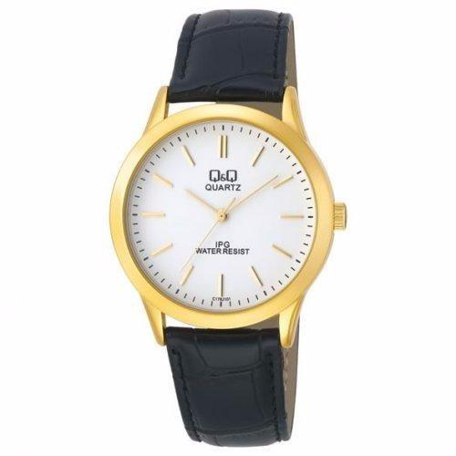 Relógio Masculino Dourado Visor Branco Couro Clássico Q&q