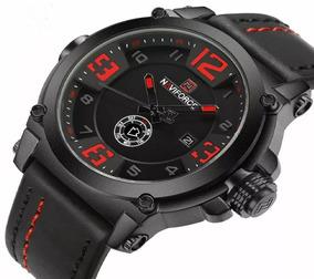 Relógio Masculino Esportivo Naviforce Pulseira Couro 9099