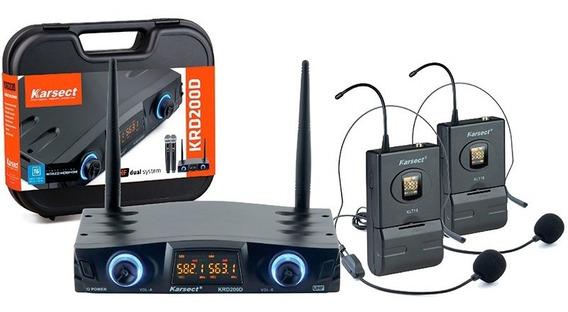 Microfone Sem Fio Duplo Auricular Headset Karsect Krd200 Dh