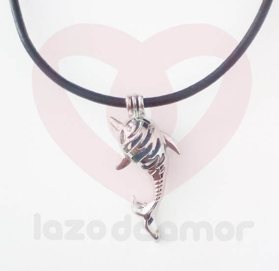 Collar Para Caballero De Cuero Con Colgante Figura De Delfin