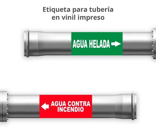 Imagen 1 de 6 de Señalamiento Etiquetas Adhesivas Identificación De Tuberías
