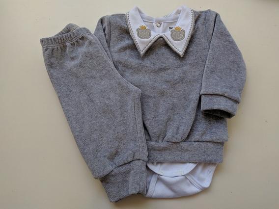 Conjunto Blusa Calça Body Gola Bordada Roupa De Bebê Menino
