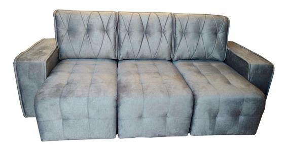 Sofá Estofado Retrátil Amsterdã 2,60cm Sala Recepção