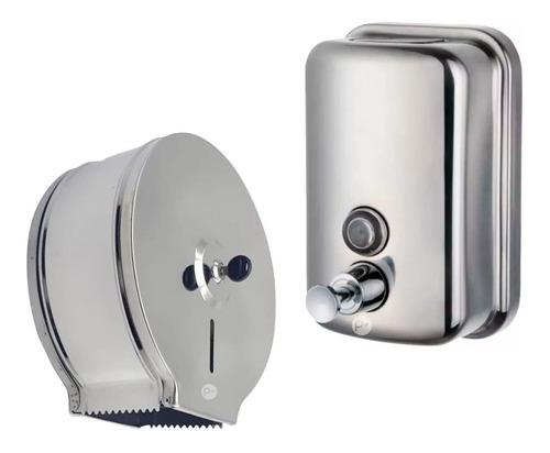 Kit Dispensador De Papel Higienico Y Dispensador De Jabón L