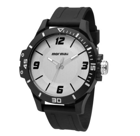 Relógio Mormaii Masc Preto C/fundo Cinza C/ Nf Mo2035fl/8b