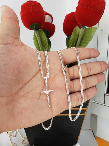 Cordão Elos Duplos + Crucifixo Prata 925 4mm E 60cm