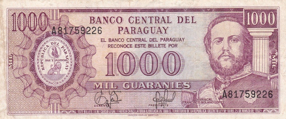 Paraguay 1952 Billete De 1000 Guaranies Pick 201b Usado