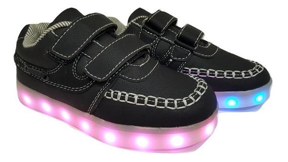 Zapatillas Luces Led Cuero Negro, Azul Unixes Recargables