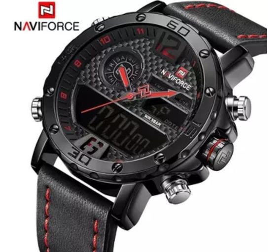Relógio Masculino De Couro Quartz Original Naviforce C Caixa