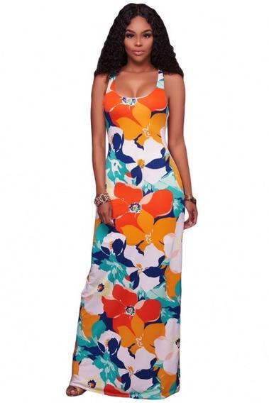 Sexy Vestido Largo Cruzado Con Estampado Floral Multicolor