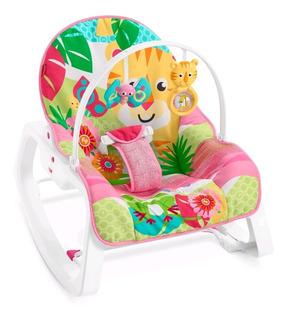 Silla Mecedora Vibradora Para Bebe Rosa / Verde