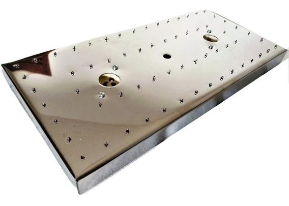 Base De Aço Inox Retangular 34 X 17,5 Cm Lustres 64 Furos